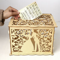 Wooden Card Box Wedding Advice Wishing Box with Lock Gift Wedding Party Favor