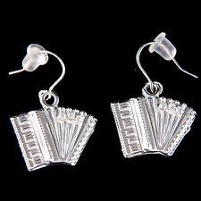 w Swarovski Crystal Bass Piano ~Accordion Squeezebox Folk Music Musical Earrings