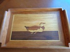 Vtg Wood Inlay Marquetry Serving Tray Carving Mixed Hardwoods Fowl Duck
