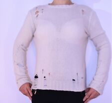 Womens Diesel Ivory Jumper Size 10 12 Holes Alpaca Wool Italian Autumn Winter AI