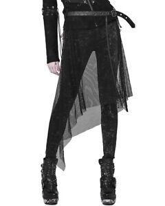 Punk Rave Fishnet Half Skirt Belt Black Gothic Punk Dieselpunk Faux Leather Mesh