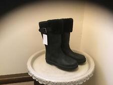 NEW WOMEN UGG AUSTRALIA WILOWE BLACK LEATHER 1007712 (Tall Boot) Size 5