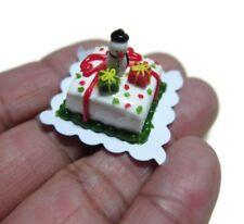 Square Christmas Cake Dollhouse Miniatures Food Bakery Holiday Xmas