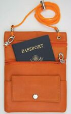 Leather Documents Passport Holder String Neck Pouch Hide Travel Case Orange