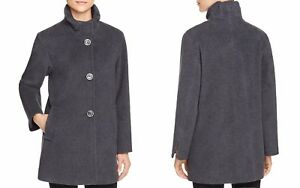Cinzia Rocca Icons Single-Breasted Ruffle Collar Coat Charcoal 12 NWT MSRP $950