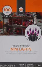 Halloween 100 Purple Twinkling Mini String Light Set 22 ft Lighted Length NIB