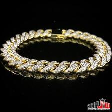 Yellow Gold Finish .925 Silver Simulated Diamond Bracelet Cuban Link Hip Hop New