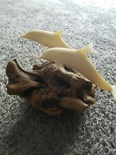 "Hand Crafted John Perry 2 Dolphins Sculpture On Burl Wood Base 8"" long"