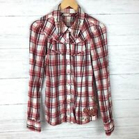 Guess Jeans Women's Red White Plaid Shirt Snap Front Western Studded Shirt Large
