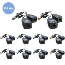 10Pair Cctv Coax Bnc Connector Video Power Balun Transceiver to Cat5e 6 Rj45 Us