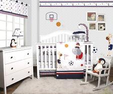 Porter Animal Sports Festival 6 Piece Baby Boy Nursery Crib Bedding Set Set of 6