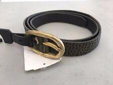 NWOT! Women's SCOTCH & SODA Snakeskin Embossed LEATHER Skinny Belt, M - Green