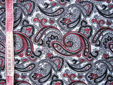 "White & Red Paisley Soft Drapey Dress Fabric  60""  Wide Crafts Sewing by Metre"