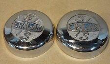 Pair of Early Cragar S/S wheel center cap cover with Blue Cragar logo