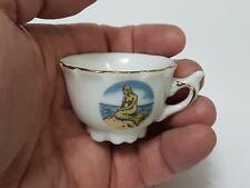 MINIATURE MERMAID Porcelain MUG Mini Vintage/Antique Cup Gold RIM Souvenir GIFT