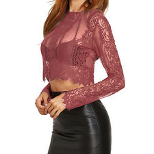 Sexy Ladies Women Lace Long Sleeve Blouse Short Shirt Bustier Top Zipper T-Shirt