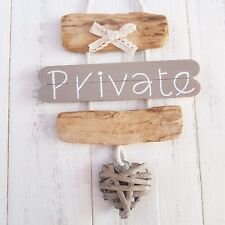 CHIC SHABBY NAUTICAL BEACH DRIFTWOOD PRIVATE DOOR HEART PLAQUE SIGN