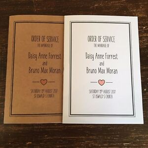 Personalised Heart Order of Service Booklets x 10 / Rustic Wedding Programme