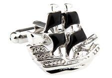 Sailboat Pair Cufflinks Black Boat Ship Wedding Fancy Gift Box & Polishing Cloth