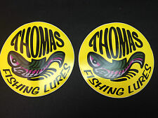 """Thomas Fishing Lures Stickers Decals Lot Of 2 Yellow 4"""""""