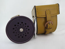 """Hardy Perfect 2 7/8"""" RHW Reel Black  Made in England in Hardy block leather case"""