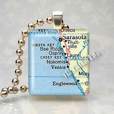 FLORIDA SARASOTA VENICE SIESTA KEY MAP Scrabble Tile Pendant Jewelry Charm
