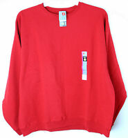 New Mens Hanes Fleece Sweat Shirt Crew Neck Long Sleeve Red size XL