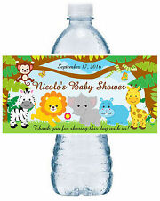 20 ZOO JUNGLE SAFARI BABY SHOWER FAVORS WATER BOTTLE LABELS ~ Waterproof Ink