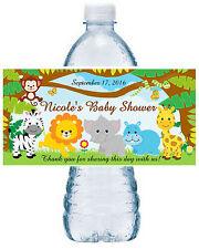 20 ZOO JUNGLE SAFARI BABY SHOWER FAVORS WATER BOTTLE LABELS ~ Waterproof Ink