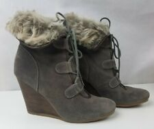 Gianni Boots Winter Wedge High Heels Fur Warm Round Toe Shoes Womens Size 11M