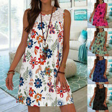 Women Summer Casual Crew Neck T Shirt Floral Lace Sleeveless Loose Tank Dress