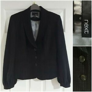 NEXT Black Blazer Size 12 Workwear Office Buttons Smart Lined Long Sleeves