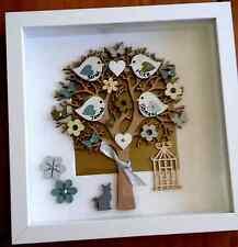 Personalised, handmade family tree with birds - deep box frame - lovely keepsake