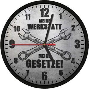 #364 Wanduhr » MEINE WERKSTATT - MEINE GESETZE «  optional mit lautlosem Uhrwerk