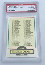 1990 Fleer Basketball Michael Jordan Checklist 1-100 #197 PSA 10 GEM MINT (A)
