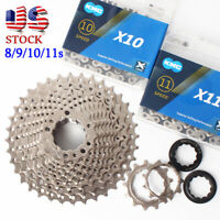 8/9/10/11Speed 11-25/28/32/36T 116/118Links KMC Chain Road Bike Cassette Chains