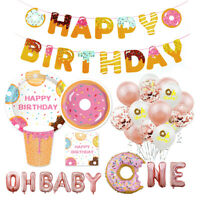 Foil Balloon Paper Tableware Set Baby Shower Birthday Donut Party Hanging Decor