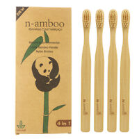 4PCS/Pack Bamboo toothbrush For Adult Soft Bristles Eco-friendly