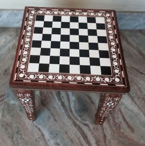 Square Chess Board Table Handmade Elephant Inlay Work Rosewood table Foldable
