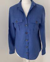 Womens Boden Letitia Linen Long Blue Sleeve Shirt UK 10 W0572