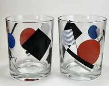 TWO Geometric Modern Art Drinking Glasses Lowball Rocks Scotch Kandinsky Color