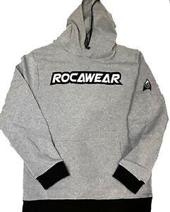 Rocawear Grey hoody, premium urban hip hop streetwear top, jogging top pullover
