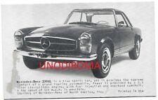 """ANNI '60 MERCEDES 230 SL """" PAGODA """" FOTO AUTO cm 8,5 x 13,5"""