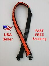 NEW Orange & Black Adjustable 550LB Paracord Rifle Gun Sling Strap w/ Swivels