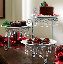 Elegant Silverstone Foldable 3 Tier Buffet Server Stand W/ Acrylic beads Accents