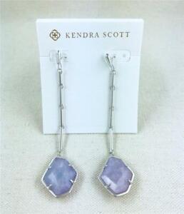 Kendra Scott Charmian Amethyst Dichroic Silver Drop Earrings