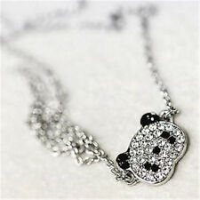 FD1459 Cute Crystal Panda Womens Silver Plated Women Pendant Chain Necklace A