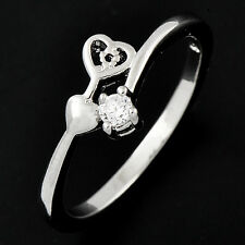 Fashion White Gold Filled Clear CZ Womens 2-Heart Finger Ring Jewelry Size 6