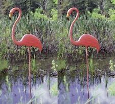 "2 ea Union 62565 Realmingo 52"" Original Featherstone Pink Plastic Lawn Flamingo"