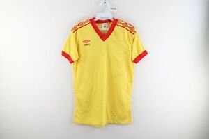 Vintage 80s Umbro Mens Medium Spell Out Taped Logo Soccer Jersey Yellow Red USA